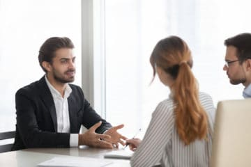 Two recruiters interviewing a candidate